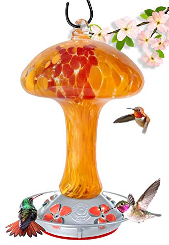 - Grateful Gnome - Hummingbird Feeder - Hand Blown Glass - Red and Orange Mushroom - 32 Fluid Ounces