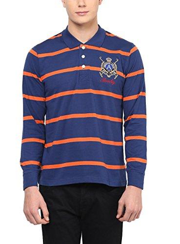 American Crew Men s Premium Jersey Long Sleeve Stripes Polo Navy Blue    Orange T-Shirt 4f24742618