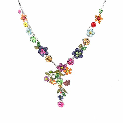 Glamorousky Colorful Flower Necklace with Multi-color Austrian Element Crystals (979)