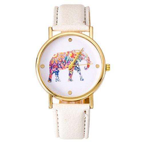 Women's Big Colorful Elephant Print Gold Dial Leather Quartz Ladies Watch White