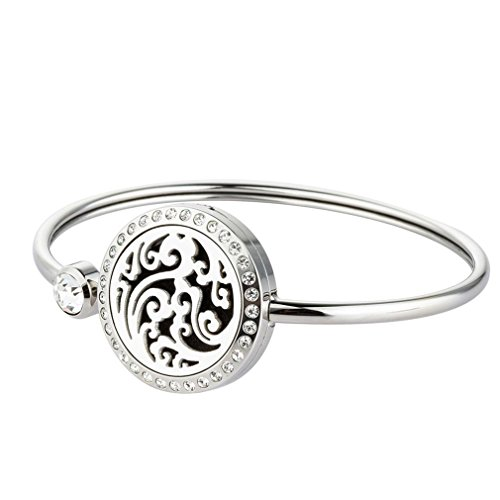 (JOYMIAO Essential Oil Diffuser Bracelet Stainless Steel Locket Pendant Crystal Cuff Bangle Aromatherapy Bracelet With 8 Pads)
