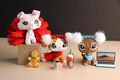 Judylovelps lps Elk Meow Custom Shorthair Cat with Ice Cream Collie 3 Figures with lps Accessories Lot Chrismtas Headband Computer Ginggerbread Man Kids Xmas Gift (Christmas Lps Customs)