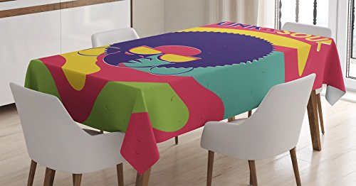 Vintage Decor Tablecloth by Ambesonne, Groovy Funk and Soul Event Flyer Print with a Cool Disco Party Music Vinyl Records, Dining Room Kitchen Rectangular Table Cover, 60W X 84L Inches, Multi - Thanksgiving Vinyl