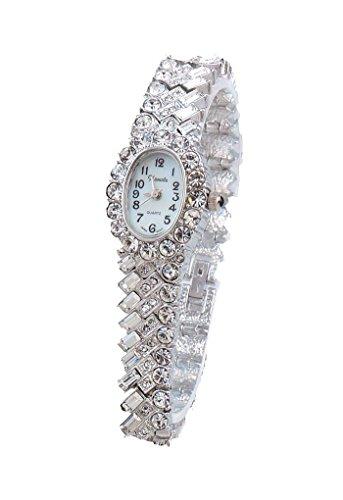 Ladies 18k Silver Plated Baguette Rhinestone Bracelet Watch Made with Swarovski Elements