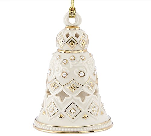 Pearl Ornament Bell - Florentine & Pearl Bell Ornament by Lenox