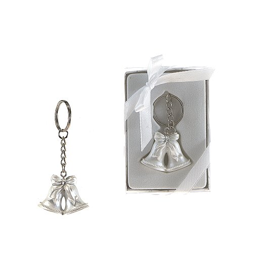 Lunaura Wedding Keepsake - Set of 12 Double Wedding Bells Key Chain Favors - White