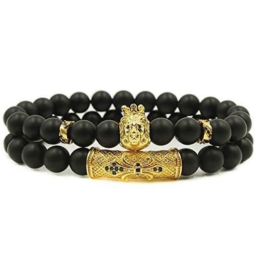 ALISETHEL Copper Bracelet for Men 2pcs/Set Fashion Men's Bracelet 8mm Natural Stone Charm Lion Charm Titanium Steel Anchor Tube Jewelry by ALISETHEL (Image #6)