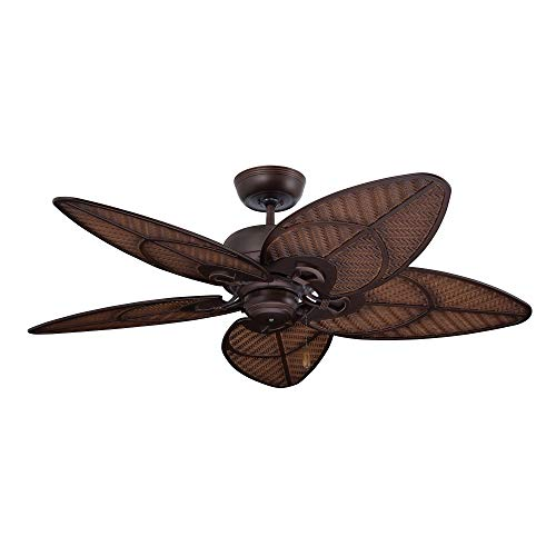 kathy ireland Home Batalie Breeze Outdoor Ceiling Fan, 52 Inch | Large Metal Fixture with Palm Leaf Blades, Quiet Motor…