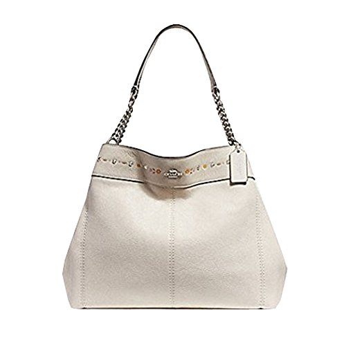 COACH LEXY CHAIN SHOULDER BAG WITH FLORAL TOOLING, F25894, CHALK