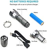 Rechargeable EDC Tactical Flashlight for Outdoor Adventure All-in-One Survival Gear Flashlight and Emergency Car Escape Tool Kit