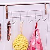 Alicenter(TM) 5 Hooks Door Back Kitchen Cabinet Draw Door Hanger Clothes Towel Spoons Rack