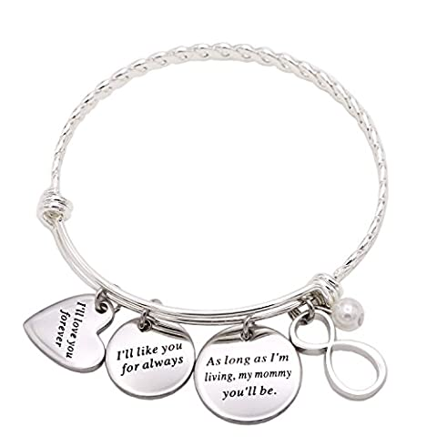 Melix Inspirational Jewelry, I'll Love You Forever Stainless Steel Bangle Bracelet Adjustable, Christmas Gift for Mother - Mom Jewelry