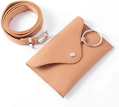 Color : Coffee Color Adams chad Brown Genuine Lambskin Leather Fanny Pack Waist Bag with Cell Phone Pouch