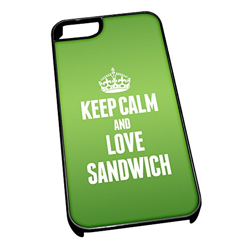 Nero cover per iPhone 5/5S 0552 verde Keep Calm and Love sandwich