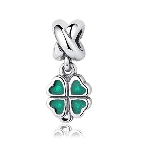 (NINGAN Authentic Four-Leaf Clover Dangle Charm, Green Enamel 925 Sterling Silver Charms Fit Pandora & Other European Charm Bracelets)