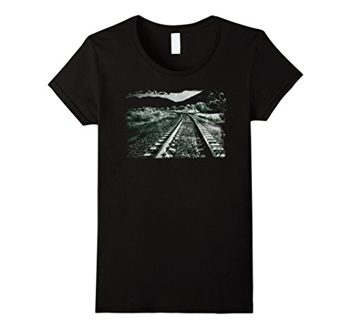 Womens Rock & Roll T Shirts - Hobo Railroad Tracks Life On The Road XL Black (2)