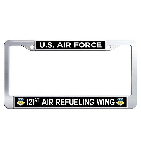 Hensteelna U.S. Air Force Stainless Steel License Frame US Air Force 121st Air Refueling Wing Auto License Tag Holder (1 pic, 6' x 12' in) ()