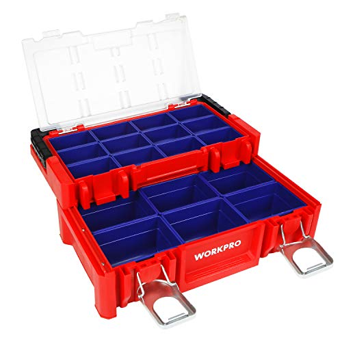 WORKPRO 17-inch Plastic Tool Box, Red Storage Box with Locking Lid and Stainless Steel Handle, 18 Adjustable Compartments for Sockets, Crafts and Power Tools