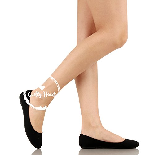 Comfortable On Flats 10 Round Toe Everyday Ballet Guilty Canvas Classic Black Heart Slip Womens vwt0P