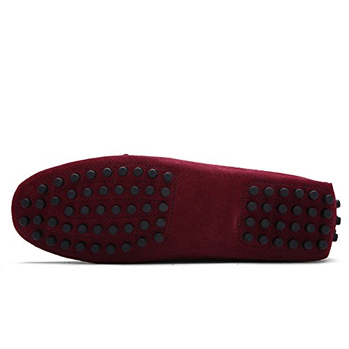 para Planos de loafers Casual Mocasines shoes hombre SHELAIDON Vino Zapatos Cuero men 41txq