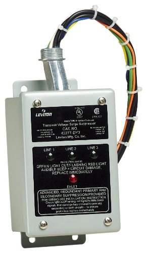 Leviton 42277-DY3 277/480 Volt, 220/380 Volt 3-Phase Wye, 240V 480V, Delta Panel Protector, 4-Mode Protection, NEMA 3R Enclosure