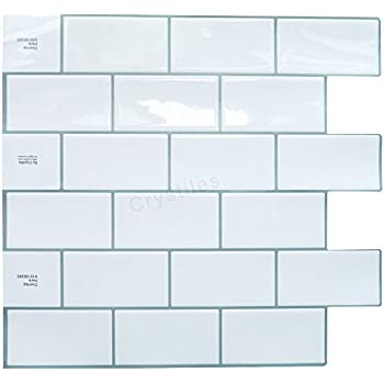 Crystiles Peel And Stick Self Adhesive Diy Backsplash Stick On Vinyl Wall Tiles For Kitchen And Bathroom D Cor Projects Subway White Item 91010838