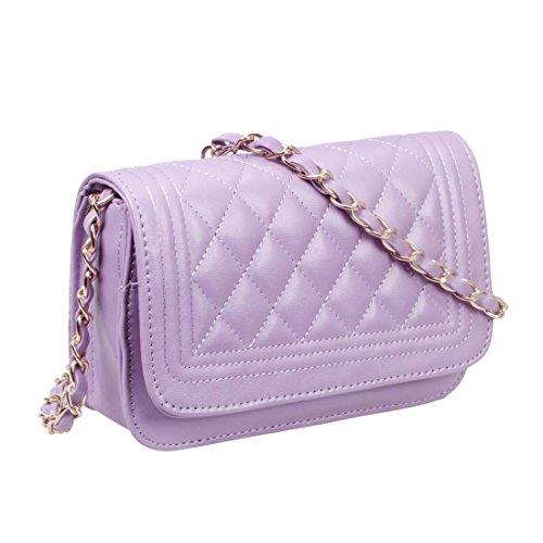 BMC Womens Lavender PU Faux Leather Diamond Quilted Pattern Mini Handbag Shoulder Strap Clutch