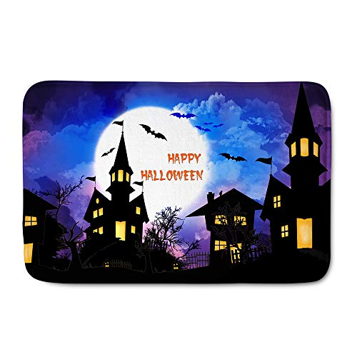 HUGS IDEA Halloween Pumpkins Bat Castle Decorative Floor Mat Entry Way Doormat Soft Area Rugs with Non-Slip Rubber Backing]()