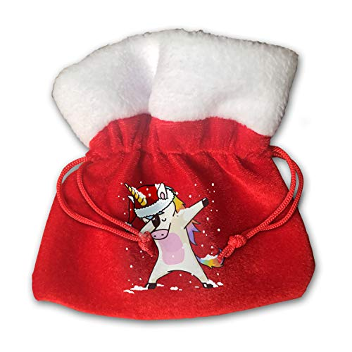 HYEECR Dabbing Christmas Unicorn Christmas Bags Santa Present Sack Drawstring Bag for Holiday Wrapping