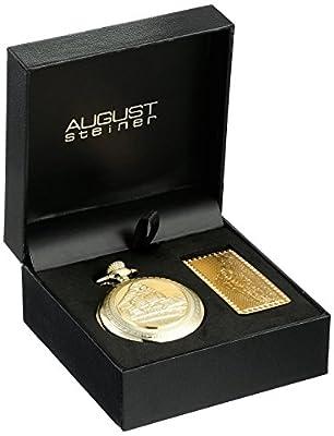 August Steiner Men's AS8144YG Silver & Gold Etched Train Design Quartz Pocket Watch & Money Clip Set