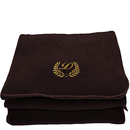 BgEurope Personalized Custom Embroidered Polar Sofa Bed Travel Fleece Blanket - REF. Leaves - Brown