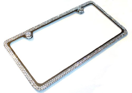 Hotblings 2 Row CLEAR CRYSTAL made w/SWAROVSKI Elements Metal Sparkle Bling License Plate Frame & Caps set -  1