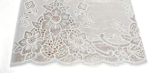 Spill Proof Tablecloth, heavy vinyl lace with full vinyl backing, easy care (60x104 Inches Rectangular, White)