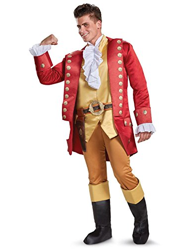Disguise Men's Plus Size Gaston Deluxe Adult Costume, Red, X-Large -