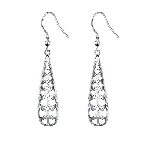 - S925 Sterling Silver Heart Hook Earrings for Women Teen Girl