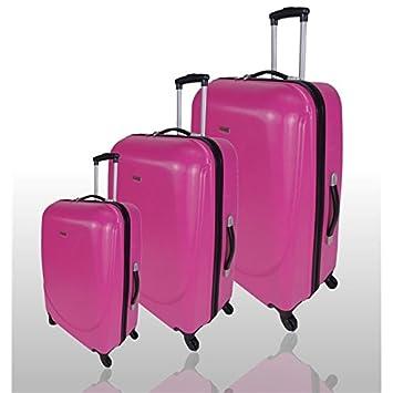 Travel Land - Juego de 3 maletas ligeras y gruesos Trolley - Carcasa rígida ABS 4 ruedas - Rosa: Amazon.es: Equipaje