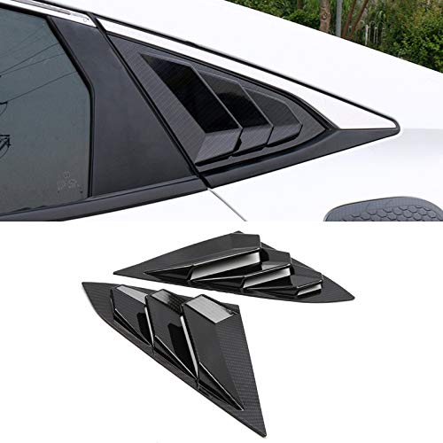 ITrims for Honda Civic Sedan 4-Door Sport 2016-2019 Auto Rear Car Side Window Louvers Vent Cover Trim Decorative 2PCS (Carbon Fiber)