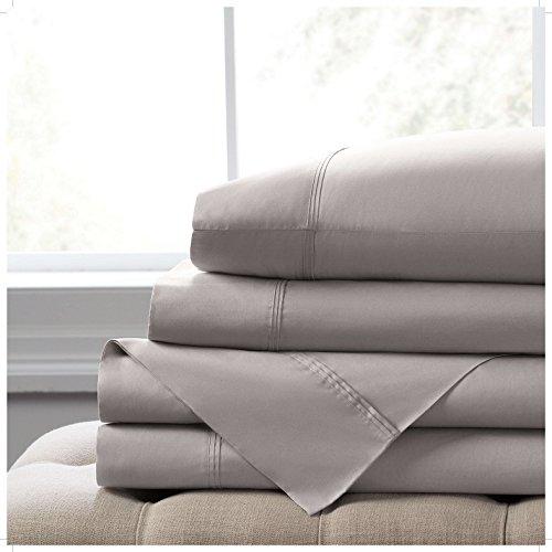 Elizabeth Arden Light-Weight 100% Long-Staple Cotton Percale Set of 2 Pillowcases - Ultra-Fine Natural Pure 300 Thread Count – Crisp & Cool - Standard/Queen Pillowcase Set of 2 - Grey by Elizabeth Arden THE SPA COLLECTION