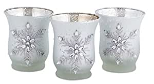"""18 Matte Silver Glass Jeweled Snowflake Christmas Votive Candle Holders 3.5"""""""