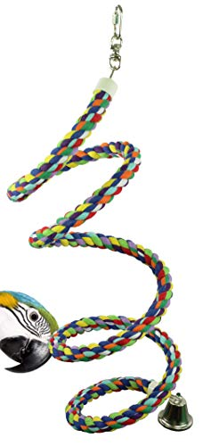 Bonka Bird Toys 1051 Large Rope Boing Coil Swing Bird Toy parrot cage pet stand perch macaw cockatoo amazon african grey play chew aviary bungee accessories colored playground