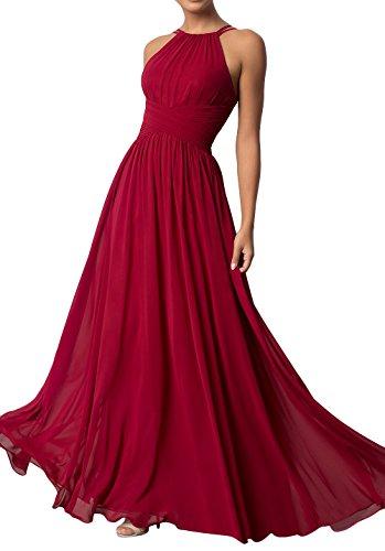 Linie Chiffon Festlich A Abendkleider Neckholder Brau Dunkel Rot Brautjungfernkleider Promkleider mia La Kleider Lang Sommer 7z8IUx0