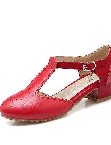 Noir-us7.5   eu38   uk5.5   cn38 IJKMN GGX chaussures pour femmes pu été bureau de talons à bout rond& carrière casual chunky talon boucle Chainnoir bleu rose rouge