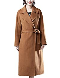 Zoulee Women's Winter Double-sided Cashmere Wool Coat With Belt Caramel Colour