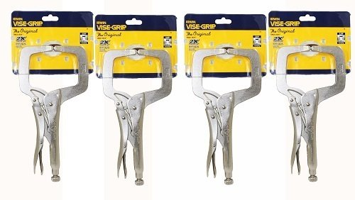 IRWIN Vise Grip 11R 11-Inch Regular Tip Locking C-Clamp, 4 Pack - C-clamp Regular Tips