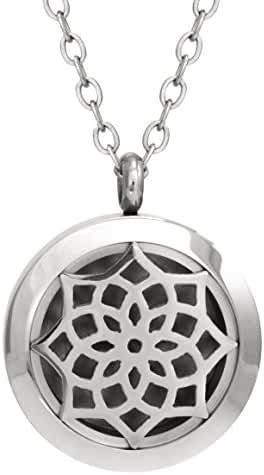 Aromatherapy Essential Oil Diffuser Necklace ~ Elegant Gift Box - Hypoallergenic Stainless Steel Locket with 24