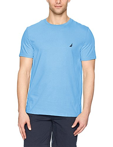 Nautica Men's Short Sleeve Solid Crew Neck T-Shirt, Rivieria Blue Solid, (Solid Crewneck T-shirt)
