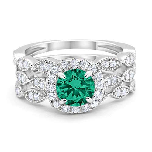 Blue Apple Co. Halo Art Deco Three Piece Wedding Engagement Bridal Set Ring Band Solid Simulated Green Emerald CZ 925 Sterling Silver, Size-8