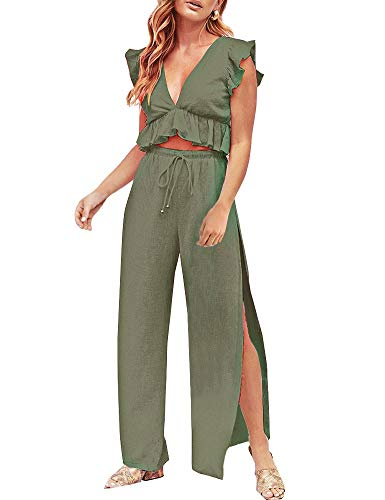 FANCYINN Womens 2 Pieces Outfits Deep V Neck Crop Top Side Slit Drawstring Wide Leg Pants Set Jumpsuits Olive Green M ()
