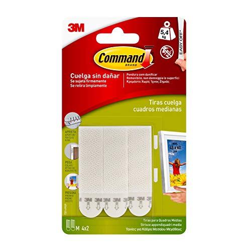 Command 17201 - Pack de 8 tiras para cuadros (medianas, hasta 5 4 kg), color blanco