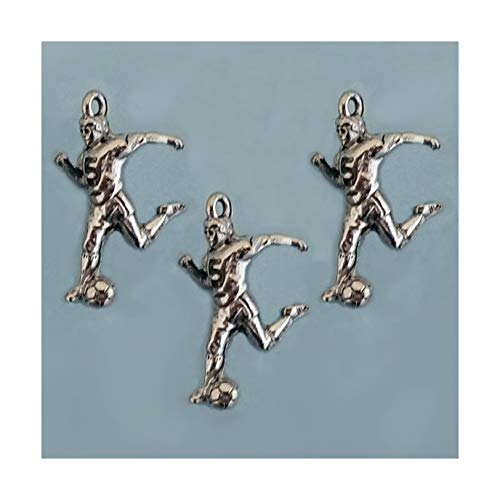 Imagine If. Soccer Football Male Player Pewter Charm (3), Pendant, Earrings, Bracelet